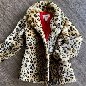 Girls Leopard Faux Fur Coat